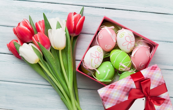 Picture flowers, Easter, tulips, happy, pink, flowers, tulips, spring, Easter, eggs, decoration, the painted eggs