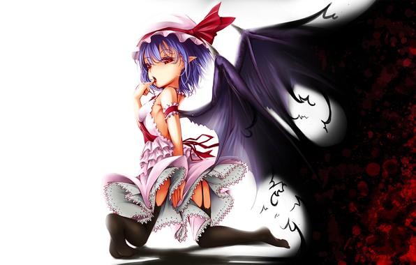 Picture red eyes, touhou, art, vampire, Remilia Scarlet, black magic, bat wings, Onigiri
