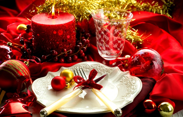 Picture balls, table, holiday, candle, New Year, glasses, plate, fork, serving