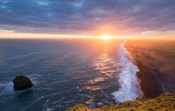 Picture sea, beach, the sun, shore, Iceland