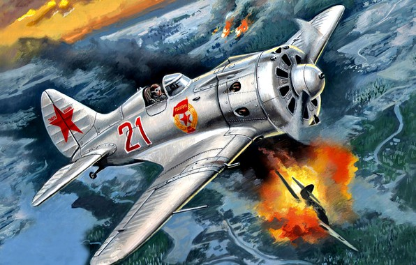 Picture art, The great Patriotic war, fighter-monoplane, piston, single-engine, I-16 type 24, WWII, THE RED ARMY …
