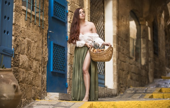Picture girl, street, basket, the building, skirt, the door, the cut, blouse, brown hair, shoulders, cakes, ...