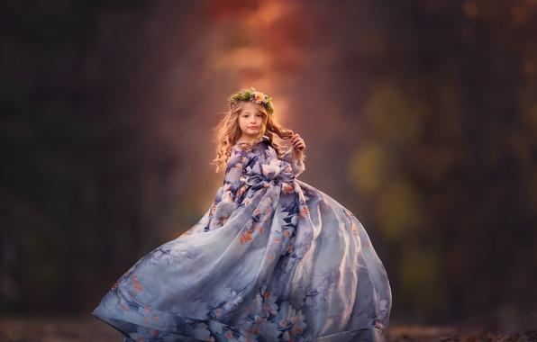 Picture look, mood, dress, girl, wreath, bokeh