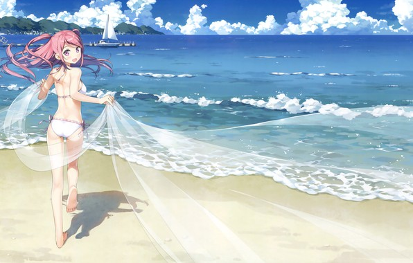 Picture sea, beach, the sky, girl, clouds, joy, landscape, mountains, anime, pierce, kantoku, institution