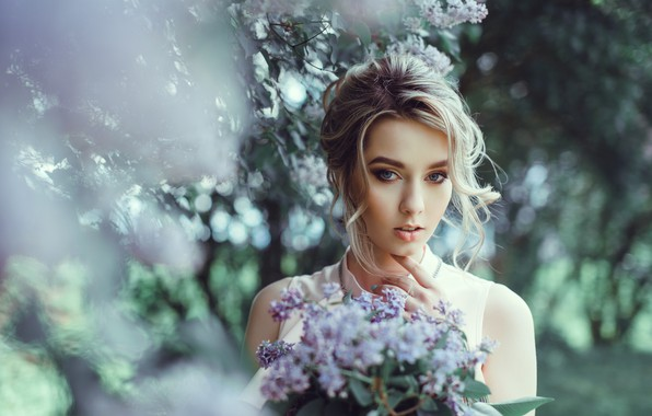 Picture girl, tenderness, spring, blonde, lilac