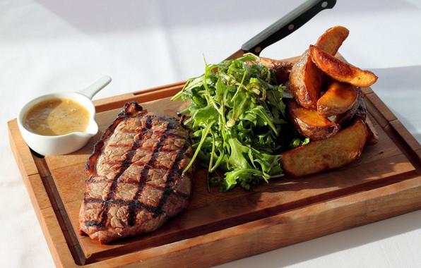 Picture greens, leaves, meat, Board, potatoes, steak