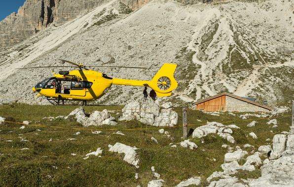 Picture grass, the sun, yellow, stones, rocks, mountain, slope, helicopter, house