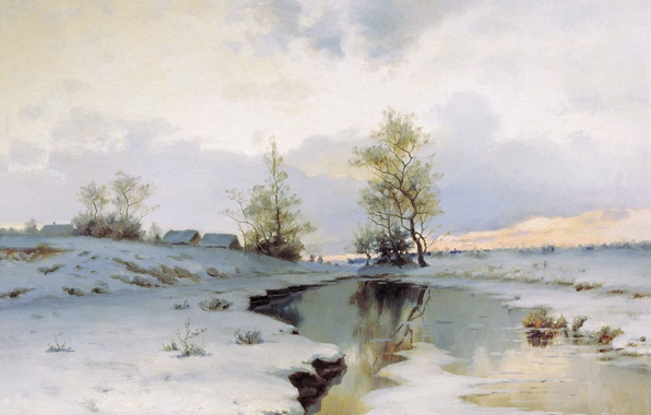 Picture snow, river, oil, Canvas, Ivan ENDOGUROV, The beginning of spring