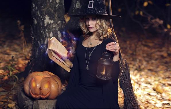 Picture girl, lantern, pumpkin, Halloween, book, broom, witch, Hakan Erenler