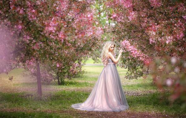 Picture girl, trees, mood, spring, garden, dress, flowering, Oksana Mitina