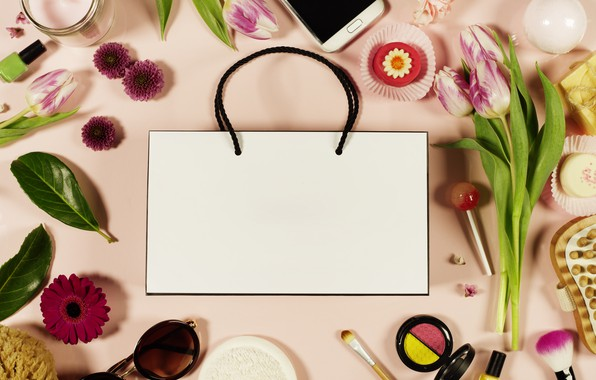 Picture flowers, background, Style, phone, bag, cakes, Cosmetics