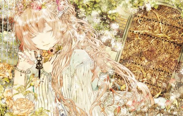 Picture garden, the door, vocaloid, Vocaloid, key, pink hair, closed eyes, Megurine Luka, rose bushes