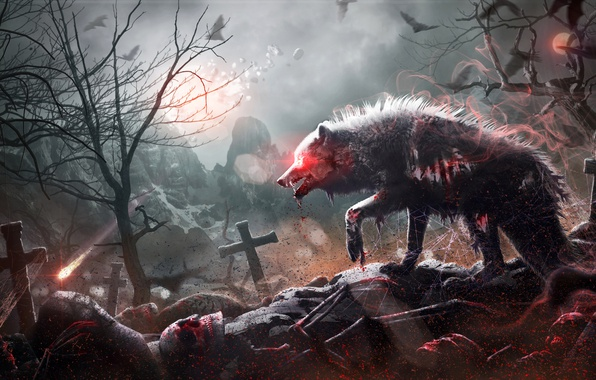 Picture Gothic, fantasy, cemetery, skull, werewolf, by Mr-Ripley