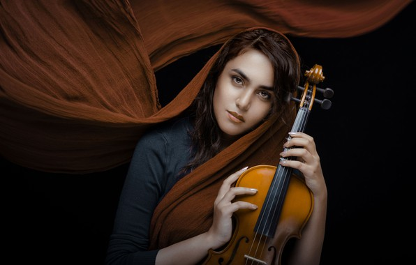 Picture look, girl, mood, violin, black background, shawl, Shima Yadollahi