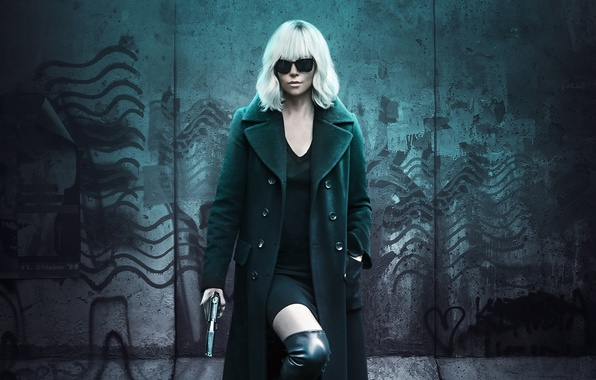 Picture gun, weapons, wall, Charlize Theron, boots, dress, glasses, hairstyle, blonde, beauty, detective, Thriller, poster, coat, …