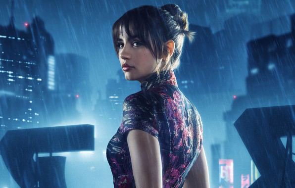 Picture night, the city, lights, fiction, rain, dress, brunette, hairstyle, beauty, Thriller, poster, Ana de Armas, …