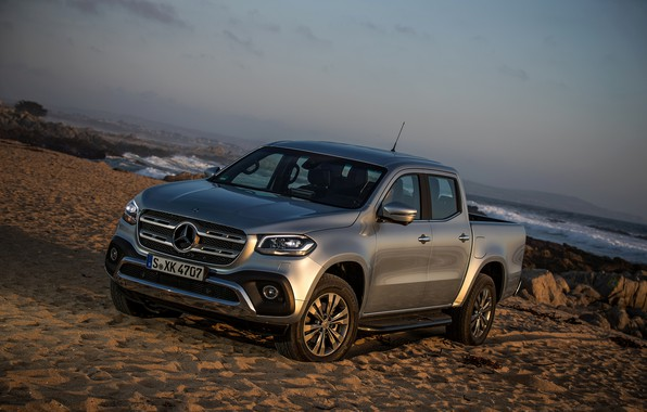 Picture sand, sea, wave, beach, water, grey, Mercedes-Benz, silver, pickup, 2017, X-Class