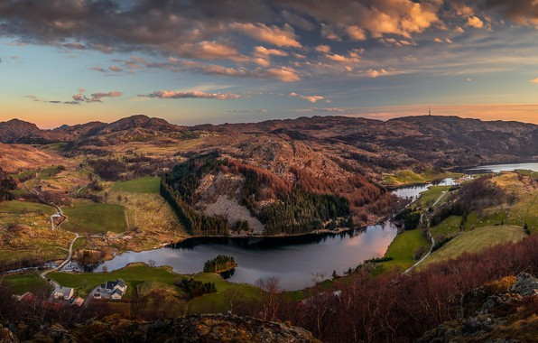 Picture the sky, clouds, trees, mountains, river, stones, field, Norway, panorama, houses, forest, the view from ...