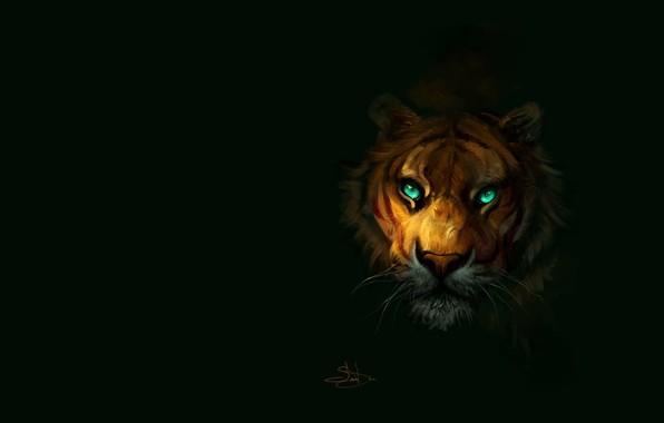Picture tiger, predator, art, by SalamanDra-S