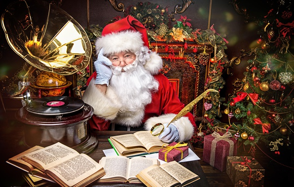 Picture decoration, toys, books, gifts, tree, Santa Claus, gramophone
