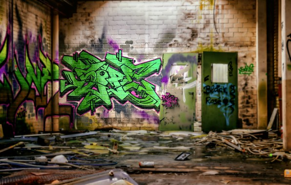 Picture wall, graffiti, hdr, abandoned building, ultra hd