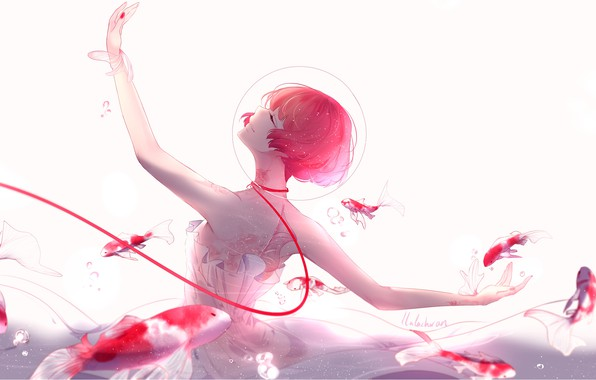 Picture girl, fish, smile, anime, art, bubble, under water, thread, lluluchwan