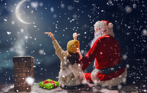 Picture New Year, Christmas, winter, snow, merry christmas, gifts, santa claus