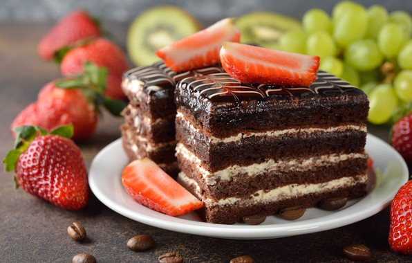 Picture berries, chocolate, kiwi, strawberry, grapes, cake, cream, dessert, coffee beans, chocolate glaze