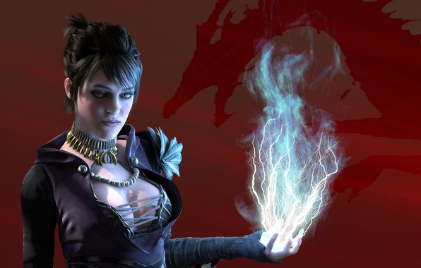 Picture girl, red, background, magic, lightning, red, witch, magic, Morrigan, beginning, Dragon Age, origins, witch, Morrigan