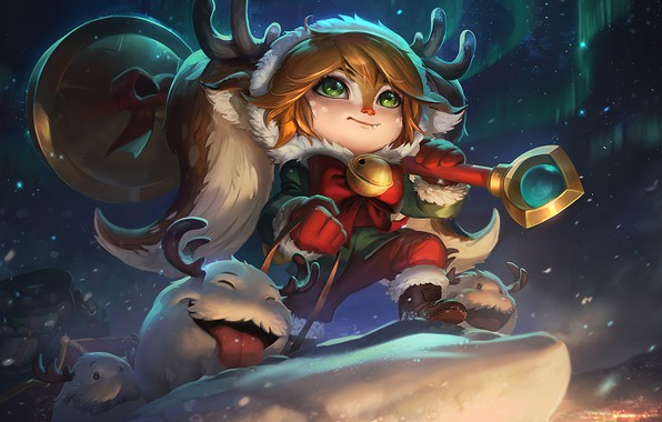Picture Snow, New Year, Fawn, Horns, Lights, Art, Splash, League of Legends, Gifts, LoL, Artwork, League …