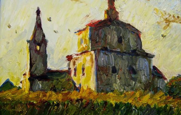 Picture landscape, temple, 2007, Peter Petyaev, AT SUNSET
