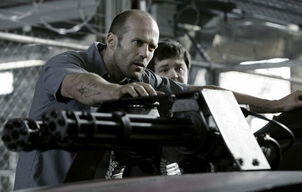 Picture car, cinema, man, movie, tatoo, Jason Statham, prison, film, machine gun, Death Race, heavy weapon, …