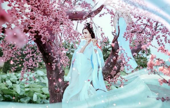 Picture girl, music, garden