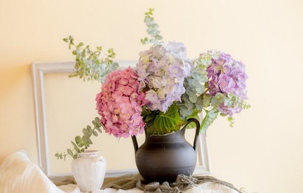 Picture background, bouquet, vase, hydrangea