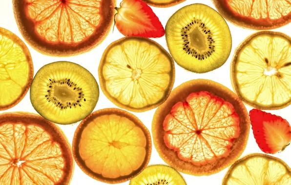 Picture macro, lemon, orange, kiwi, strawberry, fruit, slices