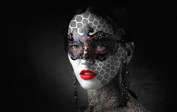 Picture face, style, lipstick, mask, lips, carnival