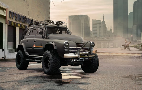 Picture cat, victory, tuning, jeep, futurism