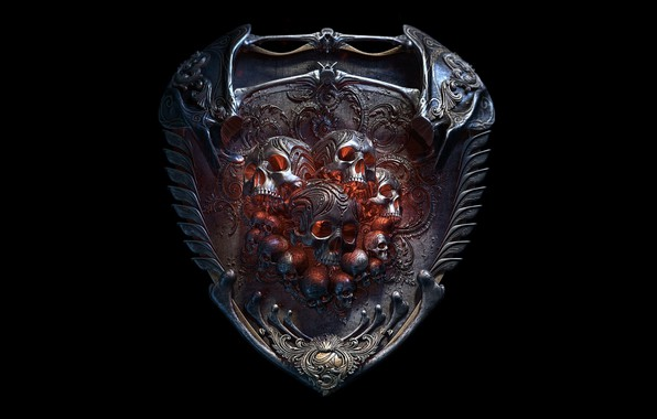 Picture Skull, Black background, Shield