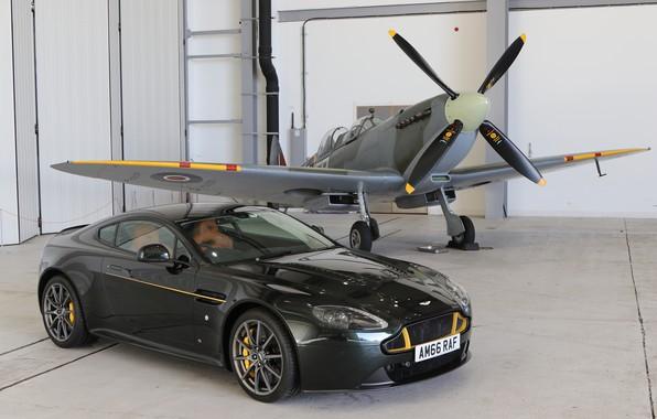 Picture Aston Martin, hangar, Spitfire
