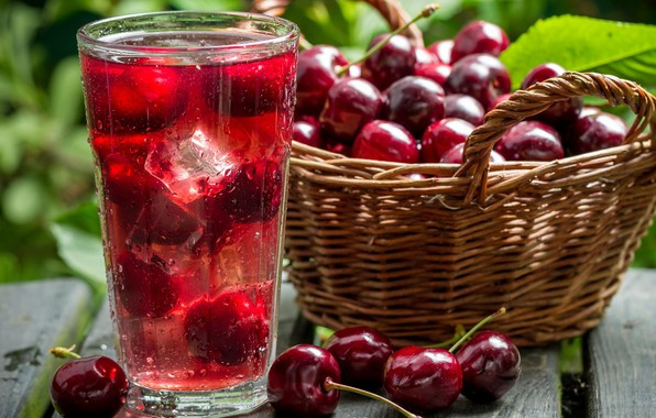 Photo wallpaper cherry, basket, drink