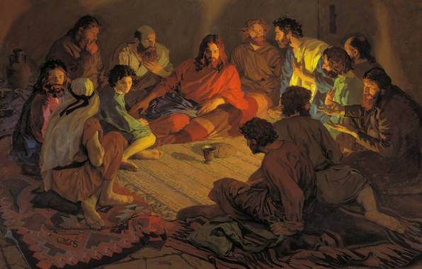 Picture The last supper, Jesus Christ, Popov Andrey, The twelve apostles
