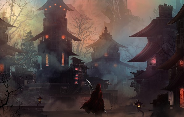 Picture city, light, fantasy, night, mood, loneliness, hero, digital art, buildings, artwork, warrior, fantasy art, lanterns, …