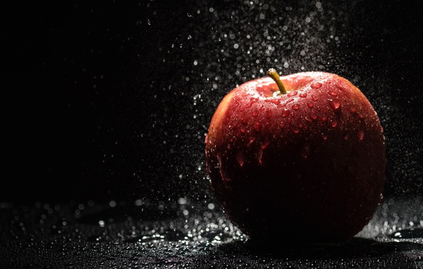 Picture water, drops, Apple, fruit