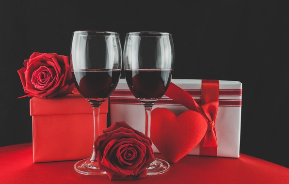 Picture wine, glasses, red, love, romantic, hearts, valentine's day, gift, roses, red roses