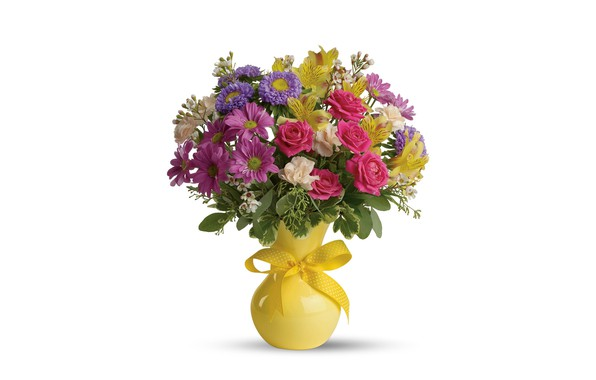Picture flowers, roses, bouquet, white background, vase, asters, alstremeria