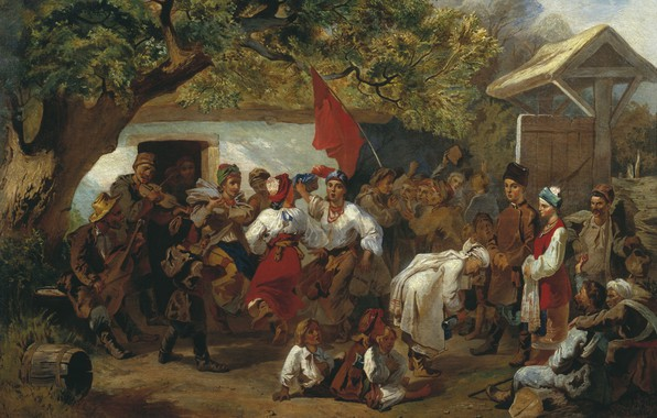 Picture oil, village, Canvas, Wedding, 1860, red flag, Ivan SOKOLOV