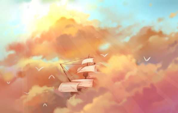 Picture the sky, birds, ship, sailboat, flight, the rays of the sun, art, mast, pink clouds, …