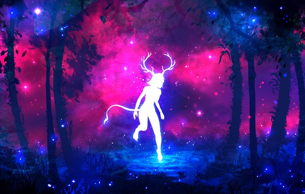 Picture forest, purple, grass, water, girl, space, stars, trees, branches, fireflies, tree, lilac, pink, blue, dark, ...