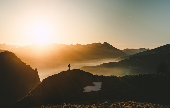 Picture the sky, light, mountains, nature, fog, people, morning, climber