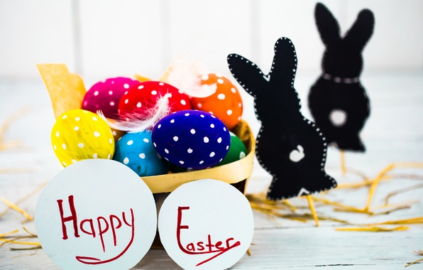 Photo wallpaper colorful, Easter, happy, basket, spring, Easter, eggs, holiday, bunny, the painted eggs